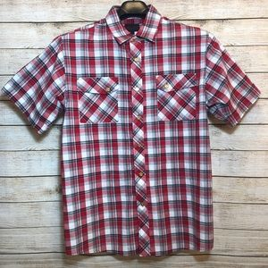 Red Ape Plaid Flannel Western Style Button Down L